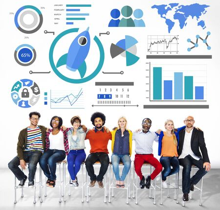 casual business: New Business Chart Innovation Teamwork Global Business Concept Stock Photo