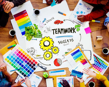design office: Teamwork Team Together Collaboration Working Design Office Concept Stock Photo