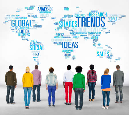 Trends World Map Marketing Ideas Social Style Concept photo