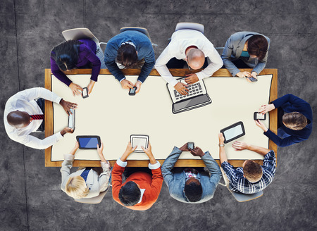 social gathering: Diverse People Using Digital Devices Photos and Illustration Stock Photo