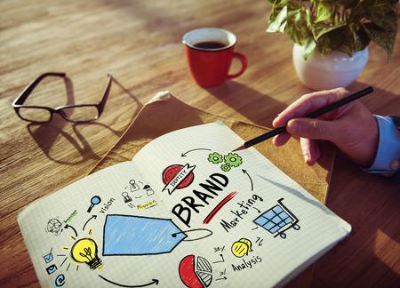 El hombre de negocios concepto de la marca de Escritura de Planificación de Marketing Foto de archivo