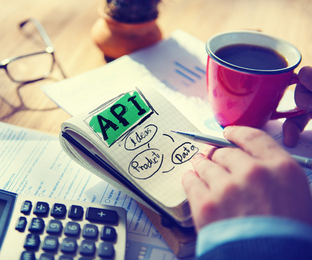 note pad and pen: Businessman Api Data Product Ideas Concept Stock Photo
