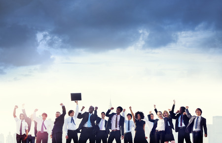 team victory: Business People Corporate Celebration Success Concept Stock Photo