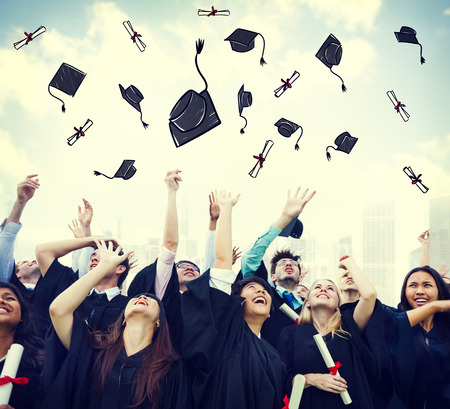 man with hat: Student Celebration Education Graduation Happiness Concept Stock Photo