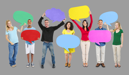 opinion: Group Friends Opinion Speech Bubbles Expression Concept Stock Photo