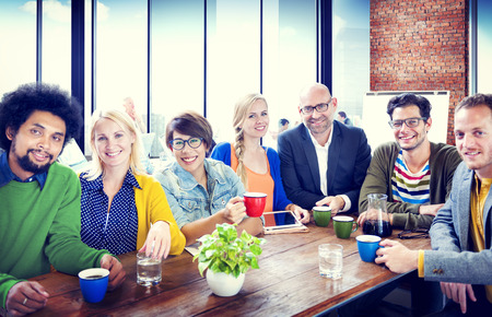group of business people: Group of People Cheerful Team Study Group Diversity Concept