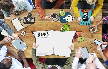 Journalist Nieuws Meeting Teamwork Broadcast Concept Stockfoto