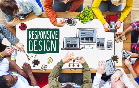 designer: Diverse People Working and Responsive Design Concept