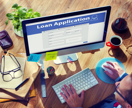 Lening Application Bank Financiën Geld Zakenman Concept Stockfoto - 41399321