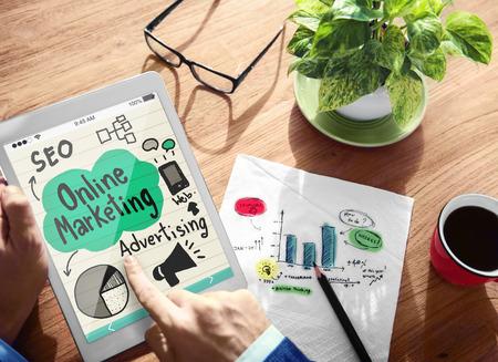 digital marketing: Digital Online Marketing Office Working Concept