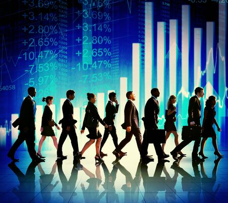 financial figures: Business People Walking Financial Figures Concept