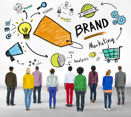 rear view: DIverse People Rear View Marketing Brand Concept
