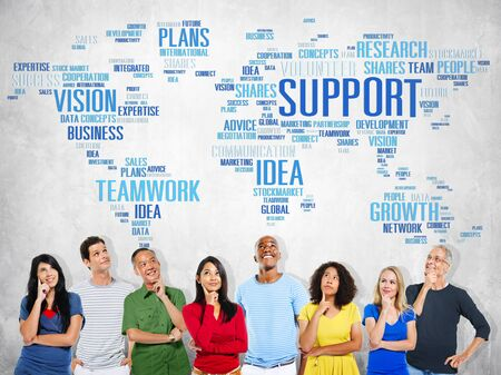 global thinking: Global People Planning Thinking Support Teamwork Concept