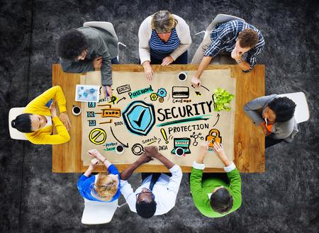 民族性の人々 会議議論セキュリティ保護の概念 写真素材