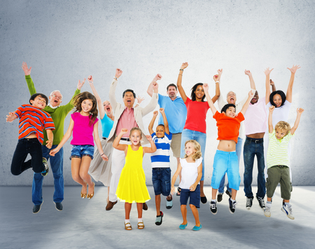 Children Celebration Jumping Ecstatic Happiness Concept Stock Photo