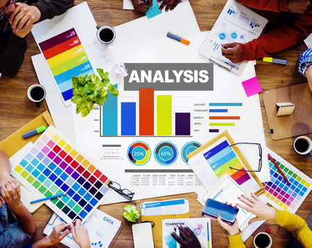 business analysis: Analysis analyzing information bar graph data concept Stock Photo