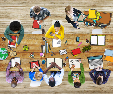 students college: Library University Studying Students Education School Concept Stock Photo