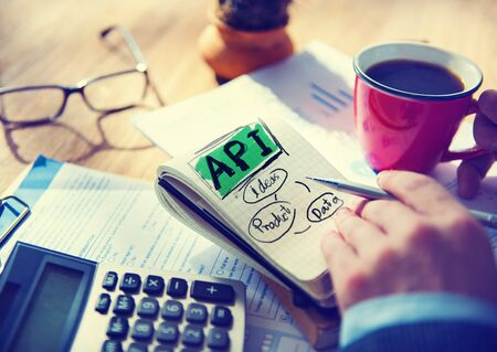 api: Businessman Api Data Product Ideas Concept Stock Photo