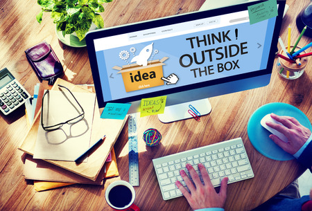 contemplate: Think Outside The Box Idea Innovation Man Concept