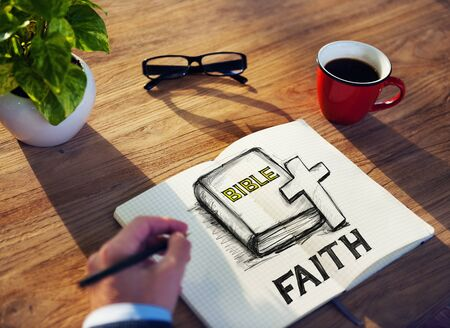 serene people: Man with a Note and Faith Concept Stock Photo