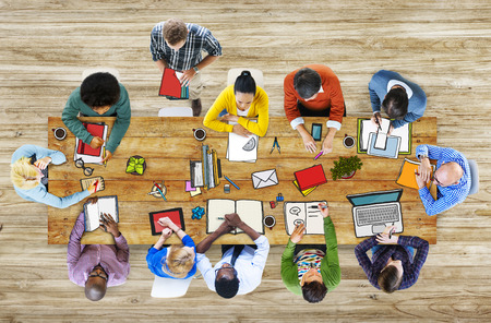 multi ethnic group: Library University Studying Students Education School Concept Stock Photo