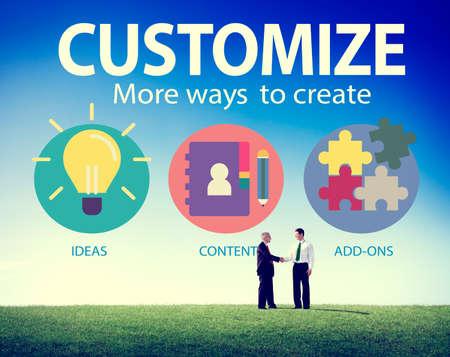 individuality: Customize Ideas Identity Individuality Innovation Personalize Concept Stock Photo