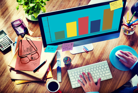 search marketing: Bar Graph Analysis Achievement Improvement Strategy Success Concept Stock Photo