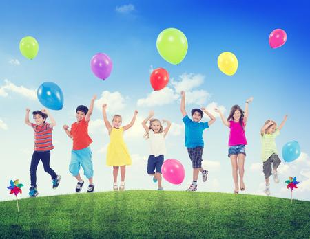 fun: Children Kids Fun Summer Balloon Celebration Healthy Lifestyle Stock Photo