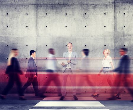 abstract  white: Businessman Standing Out From The Crowd Working Concept Stock Photo