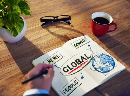 Man with a Note Pad and Global Network Concepts photo