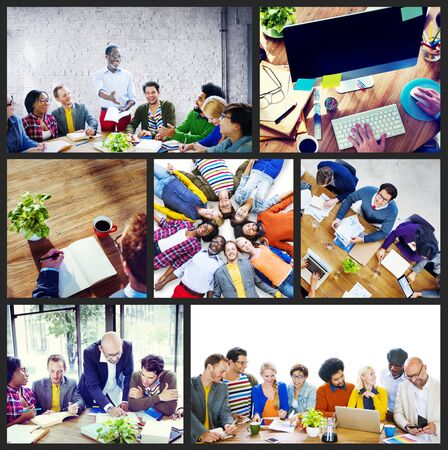 casual business: Diverse Group People Working Team Interaction Concept