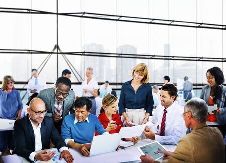 people standing: Business People Office Working Discussion Team Concept