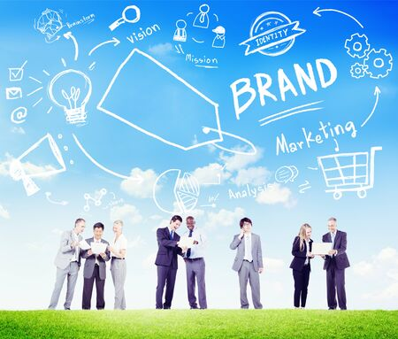 Diverse Business People Meeting Outdoors Marketing Brand Concept photo