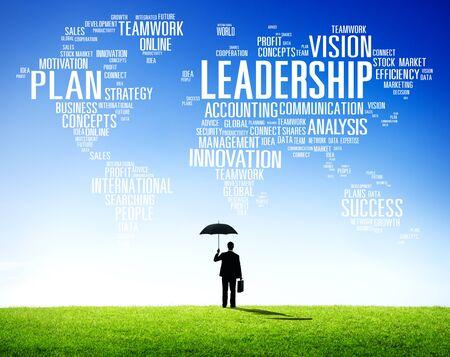 liderazgo: Liderazgo Jefe de Gestión Entrenador Jefe Global Concept Foto de archivo