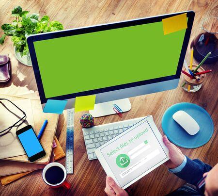 uploading: Businessman Digital Devices Web Uploading Working Concept