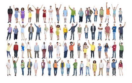 comunidad: Diversidad Celebración Éxito Felicidad Comunidad concepto de multitud Foto de archivo
