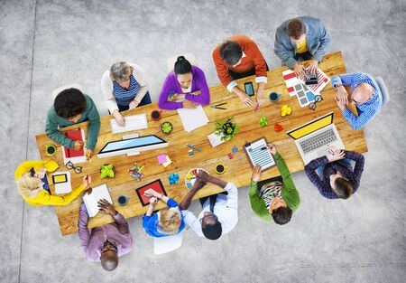 asian man laptop: Group of Diverse Business People in a Meeting