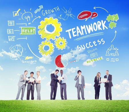 team communication: Teamwork Team Together Collaboration Business People Communication Concept Stock Photo