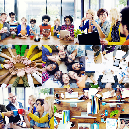 casual business: Casual Business People Working Together Team Interaction Concept Stock Photo