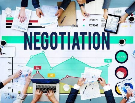 compromise: Negotiation Benefit Compromise Contract Growth Concept Stock Photo