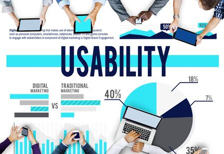 feasibility: Usability Accessibility Efficiency Feasibility Purpose Concept Stock Photo