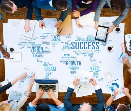 business networking: Success Growth Vision Ideas Team Business Plans Connect Concept