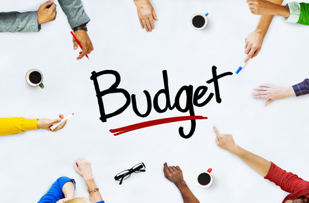Multi-Ethnic Group of People and Budget Concept Standard-Bild