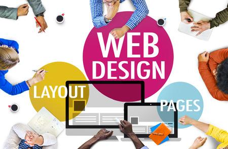 plantilla de sitio web: Dise�o Web Contenido Creativo Web Concept Responsive Foto de archivo