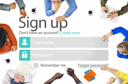 Sign Up Register Online Internet Web Concept Stock Photo