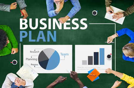 business research: Business Plan Planning Strategy Meeting Conference Seminar Concept Stock Photo