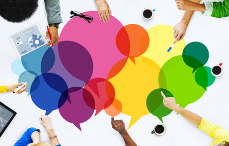 group discussions: Casual People Message Talking Communication Concept Stock Photo