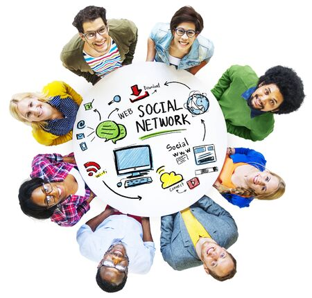 looking up: Social Network Social Media People Looking Up Concept Stock Photo