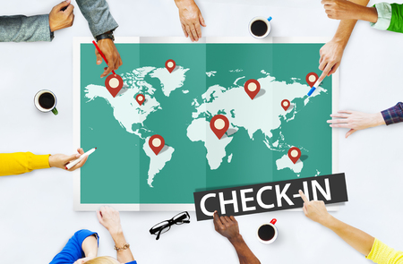 check in: Check In Travel Locations Global World Tour Concept
