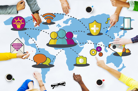 Social Network Sharing Global Communications Connection Concept Stockfoto